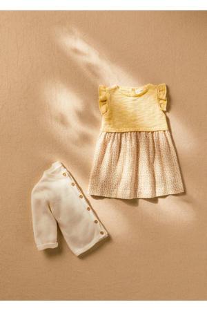 baby jurk met stippen en ruches geel