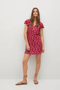 Mango jurk met all over print en volant rood/wit, Rood/wit