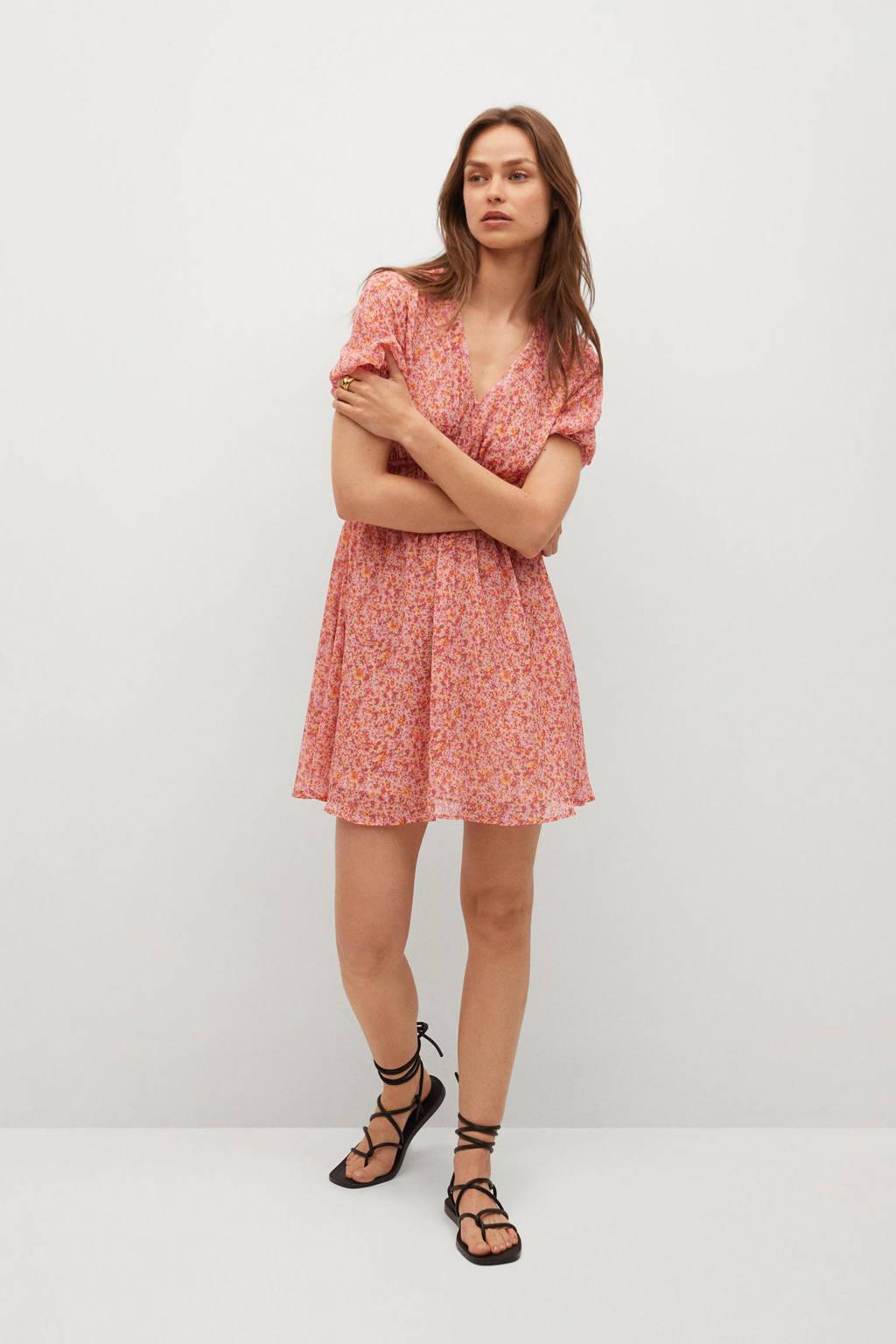 Mango A-lijn jurk met all over print roze, Roze