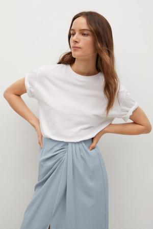 midi rok met plooien lichtblauw