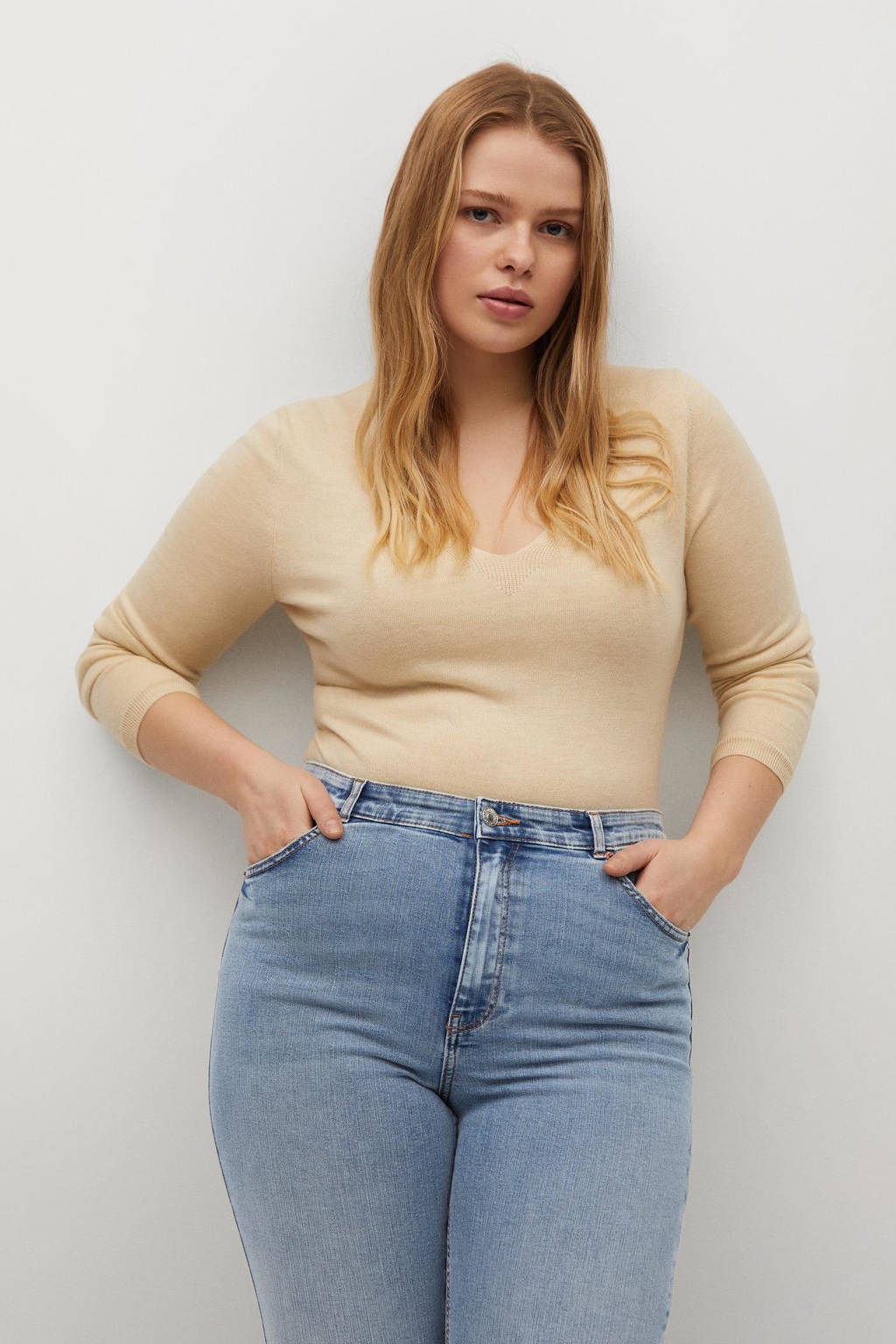 Violeta by Mango high waist super skinny jeans light denim, Light denim
