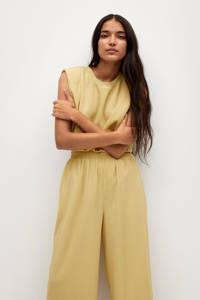 Mango cropped high waist loose fit culotte geel, Geel