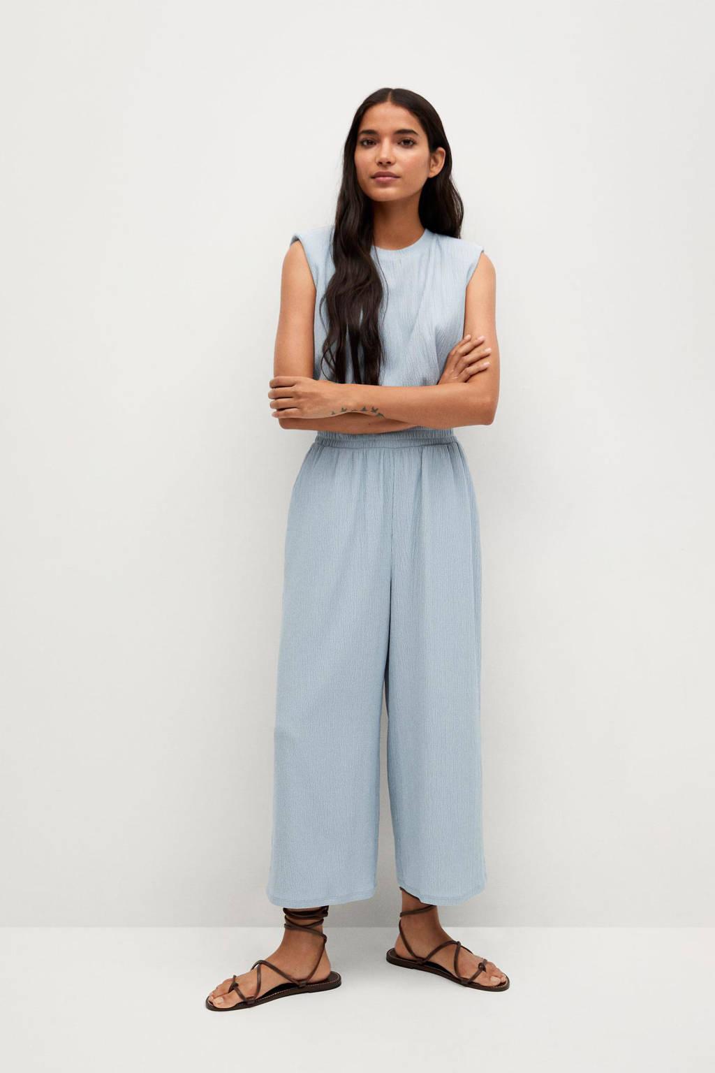 Mango cropped high waist loose fit culotte met textuur lichtblauw, Lichtblauw