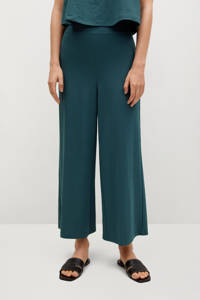 Mango cropped high waist loose fit culotte donkerblauw, Donkerblauw