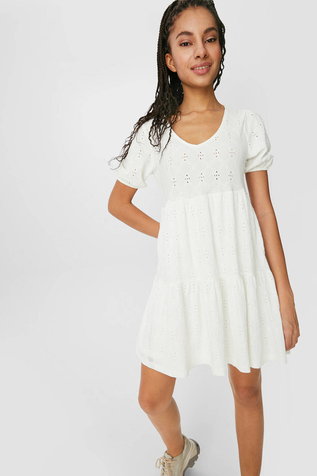 C&A Clockhouse A-lijn jurk met volant wit, Wit