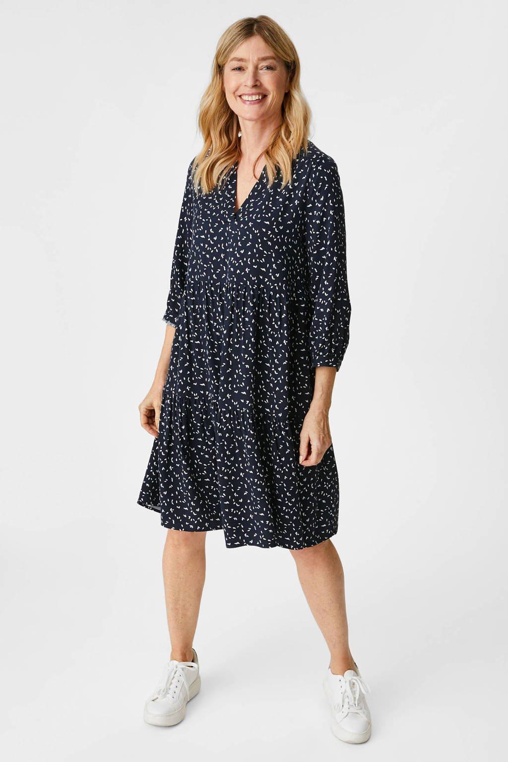 C&A Canda Premium jurk met all over print en ruches blauw, Blauw