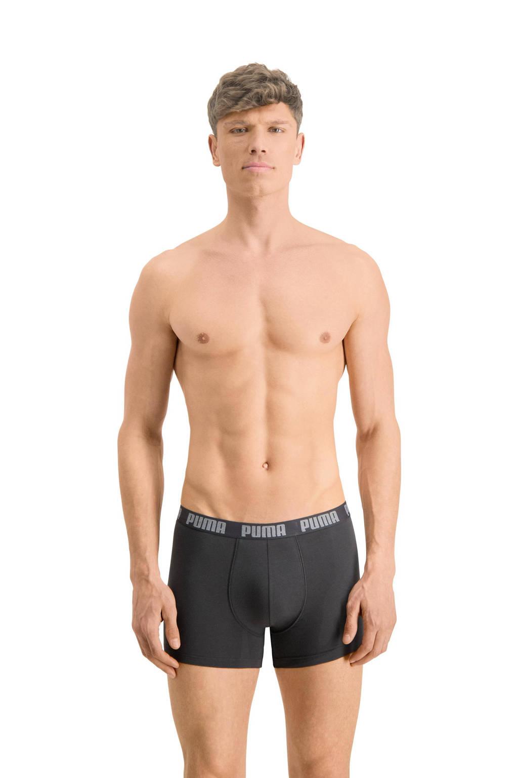 Puma boxershort (set van 3), Zwart/grijs