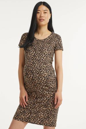 zwangerschapsjurk Lovely met panterprint zwart/bruin