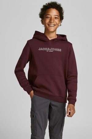 sweater JJBANK met logo donkerrood