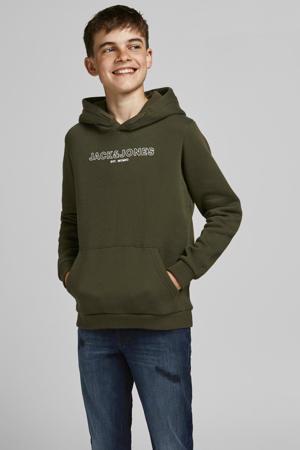 sweater JJBANK met logo army groen