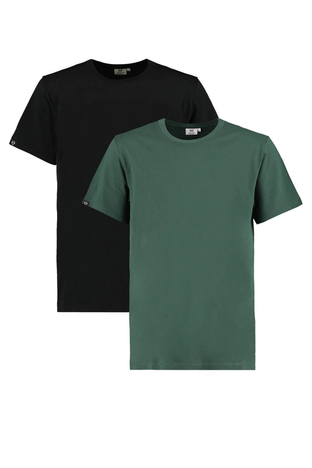 America Today T-shirt Eric - (set van 2), Zwart/groen