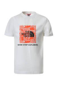 The North Face T-shirt Box met printopdruk wit/oranje, Wit/oranje
