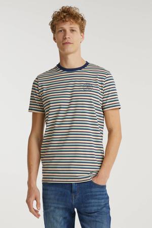 gestreept T-shirt blauw/roze/ecru