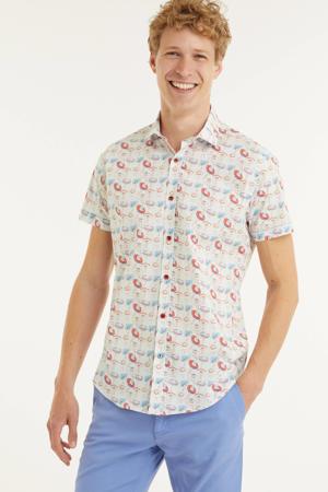 slim fit overhemd Sombrero  met all over print wit/rood