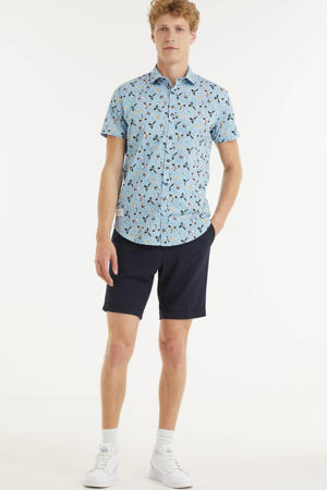 slim fit overhemd Colorful Birds met all over print lichtblauw