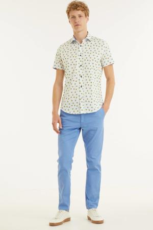 slim fit overhemd Lemons met all over print wit/geel