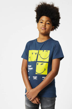 T-shirt Edko coolcat x smiley world blauw/geel/wit