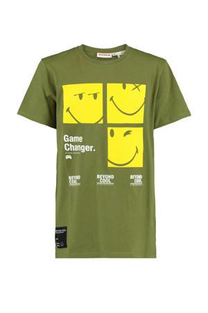 T-shirt Edko coolcat x smiley world army groen/geel
