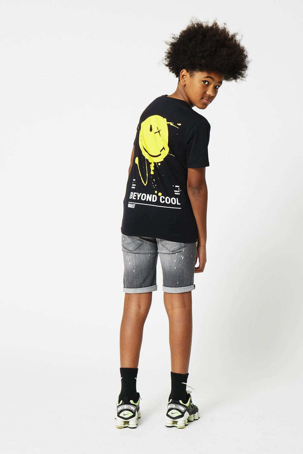 CoolCat Junior T-shirt Emilio coolcat x smiley world zwart/wit/geel, Zwart/wit/geel