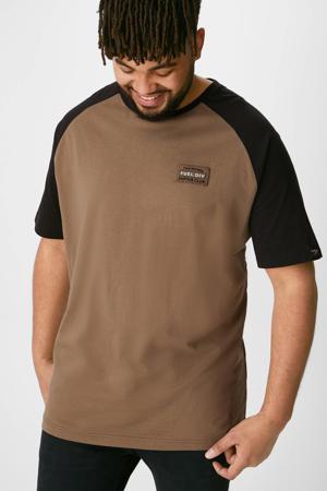 T-shirt met 3D applicatie bruin/zwart