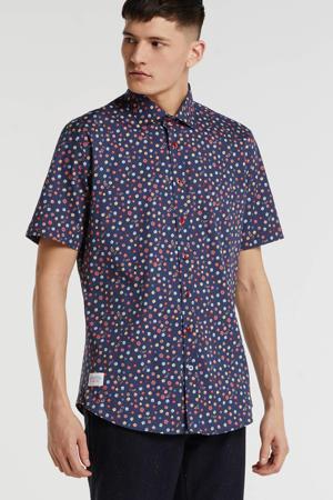 slim fit overhemd met all over print marine/rood/geel/groen