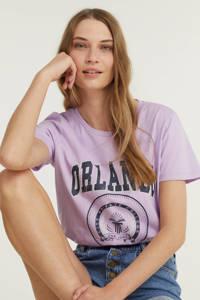 ONLY T-shirt ONLLEISURE met printopdruk lila, Lila