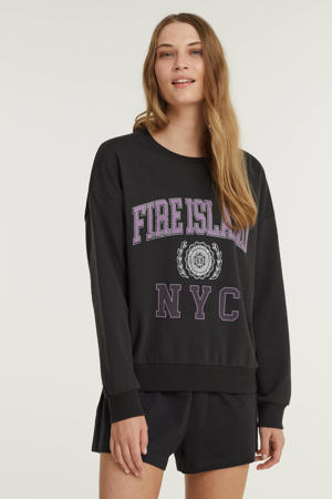 sweater met printopdruk donkergrijs