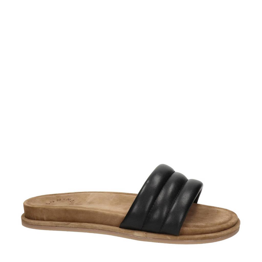 Nelson   leren slippers zwart, Zwart