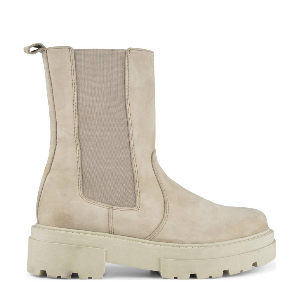PS Poelman Loki  hoge nubuck chelsea boots beige, Beige/taupe