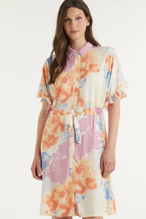 blousejurk Saphira  met all over print ecru/ roze