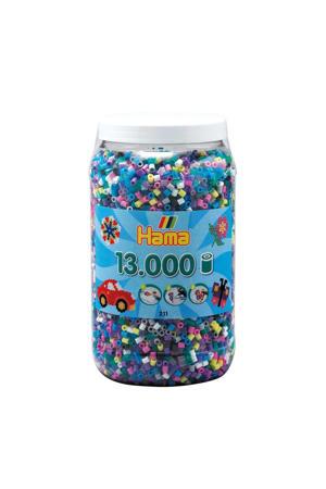 strijkkralen in pot kleurenmix, 13.000 stuks