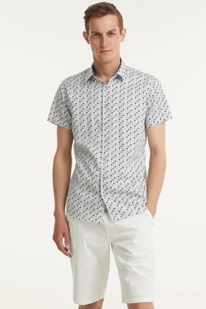 regular fit overhemd met all over print blauw/wit/roze