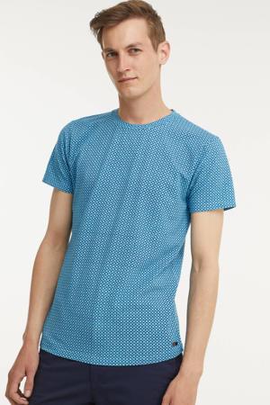 T-shirt met all over print aqua
