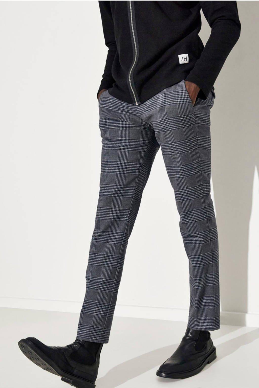 SELECTED HOMME geruite slim fit pantalon Carlo donkerblauw, Donkerblauw
