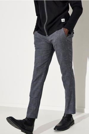 geruite slim fit pantalon Carlo donkerblauw