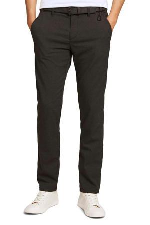 geruite straight fit broek antraciet/zwart