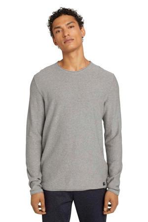 gemêleerde fijngebreide trui grijs melange