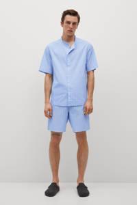 Mango Man gestreepte pyjamatop lichtblauw/wit, Lichtblauw/wit