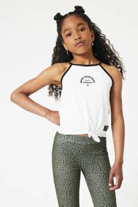 CoolCat Junior top Gaby met printopdruk wit/zwart, Wit/zwart