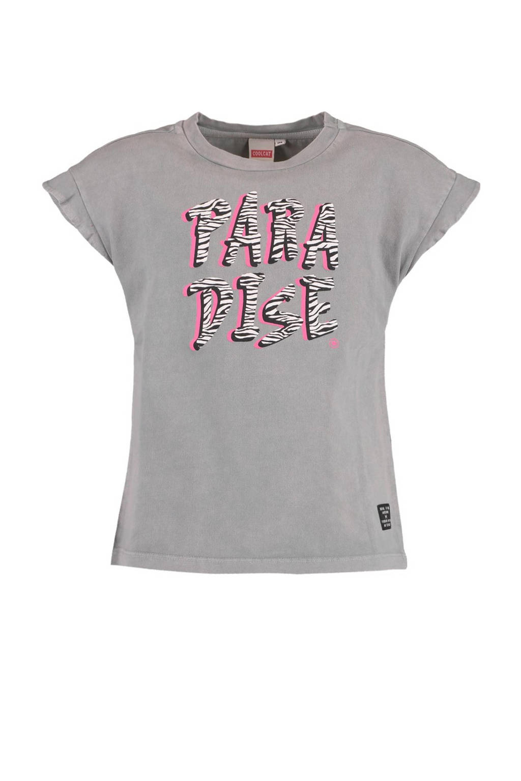 CoolCat Junior T-shirt Esra met tekst grijs, Grijs