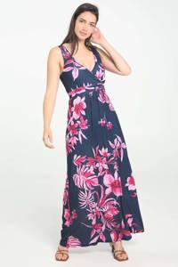 Cassis gebloemde maxi jurk fuchsia/donkerblauw, Fuchsia/donkerblauw