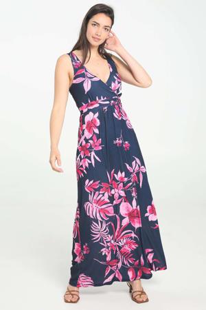 gebloemde maxi jurk fuchsia/donkerblauw