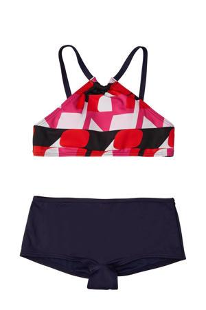 crop bikini Cali Holiday donkerblauw/rood
