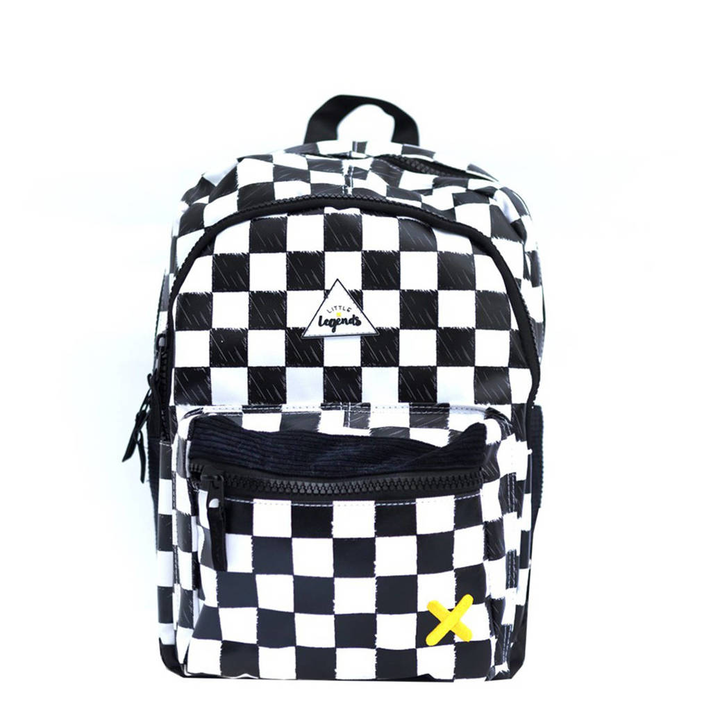 Little Legends  rugzak Checkerboard zwart/wit, Zwart/wit