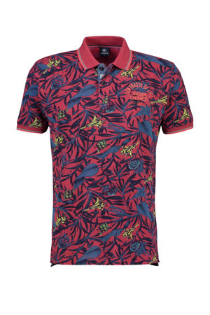 regular fit polo met all over print donkerroze
