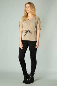 Ivy Beau overslag top Navah met textuur zand/zwart, Zand/zwart