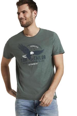 T-shirt met logo grijsgroen