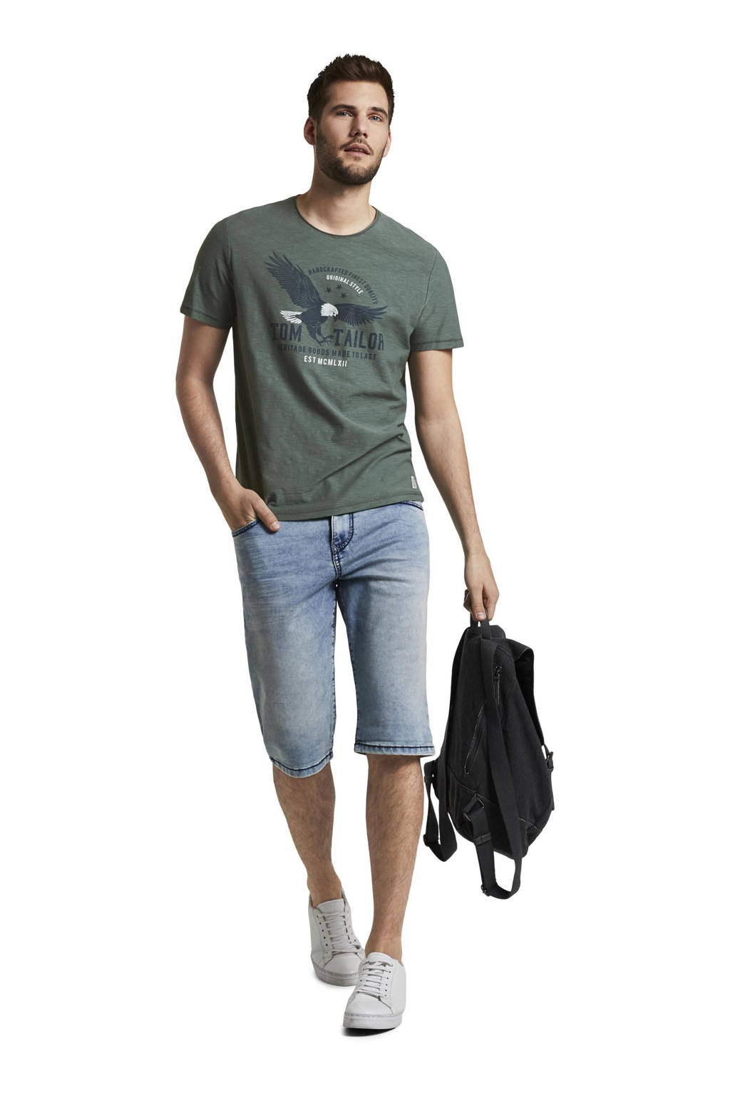 Tom Tailor T-shirt met logo grijsgroen, Grijsgroen