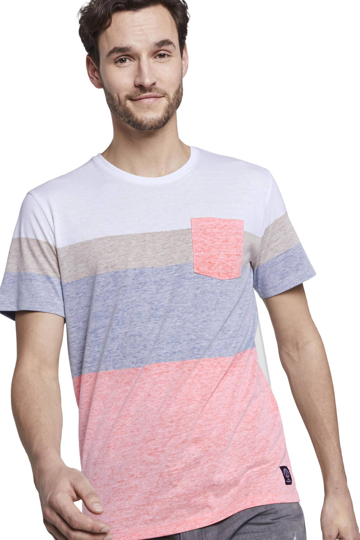 Tom Tailor T-shirt lichtroze/wit/blauw, Lichtroze/wit/blauw