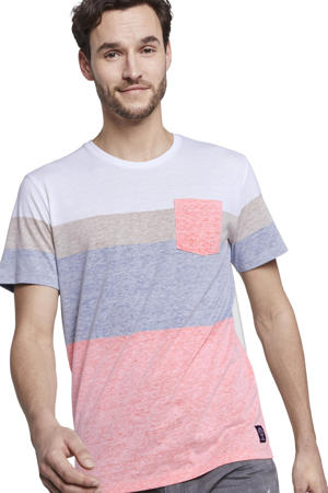 T-shirt lichtroze/wit/blauw